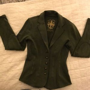 Bisou Bisou army green jacket with gold stitch- S